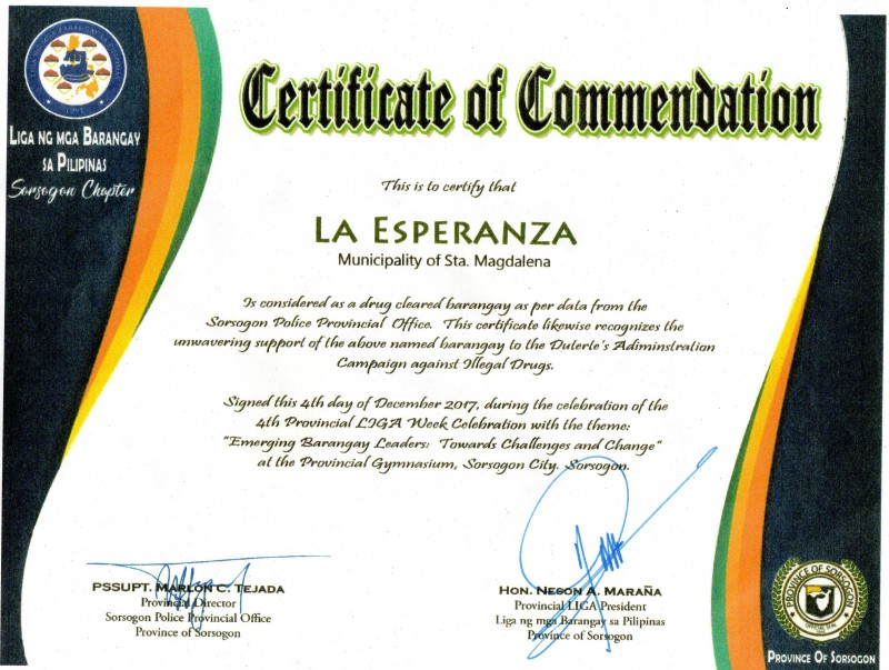 Certification of Commendation